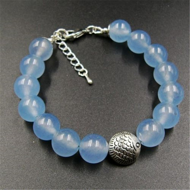 Vintage Classic Laboratory-created Natural Stone Jewelry Noble Ice Blue Aquamarines Beaded Chain Strand Bracelet 21cm