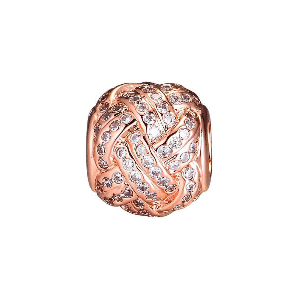 CKK ลูกปัด Rose Gold Love Knot Charms เงิน 925 Original เหมาะกับสร้อยข้อมือ Pandora Sterling Silver เครื่องประดับทำลูกปัด
