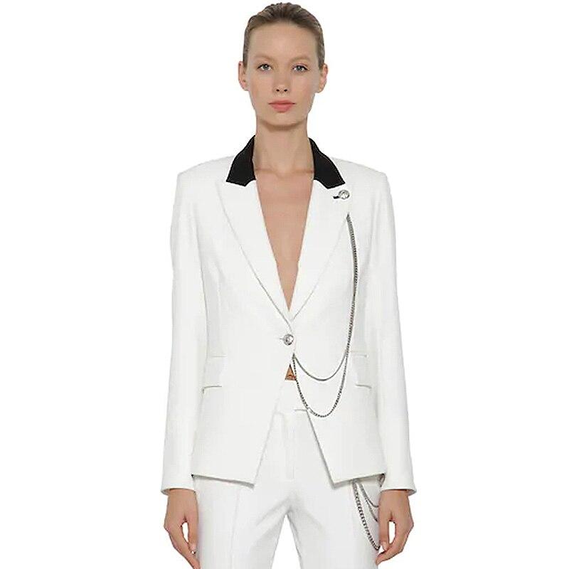 HIGH Street Newest 2019 Designer Blazer Women s Lion Buttons Single Button Metal Chain Blazer Jacket