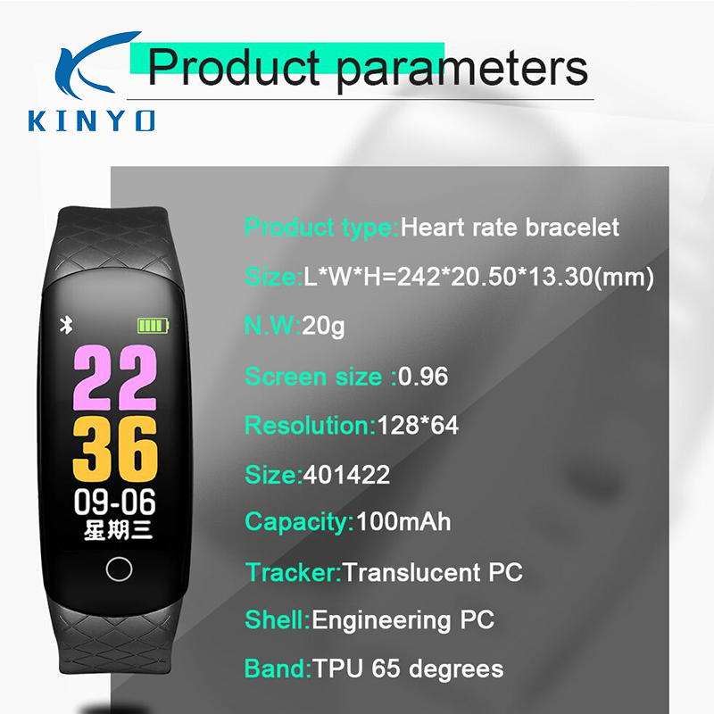 2018 de fábrica al por mayor smartband presión arterial monitoreo inteligente pulsera llamada recordatorio información pulsera cuidado de la salud