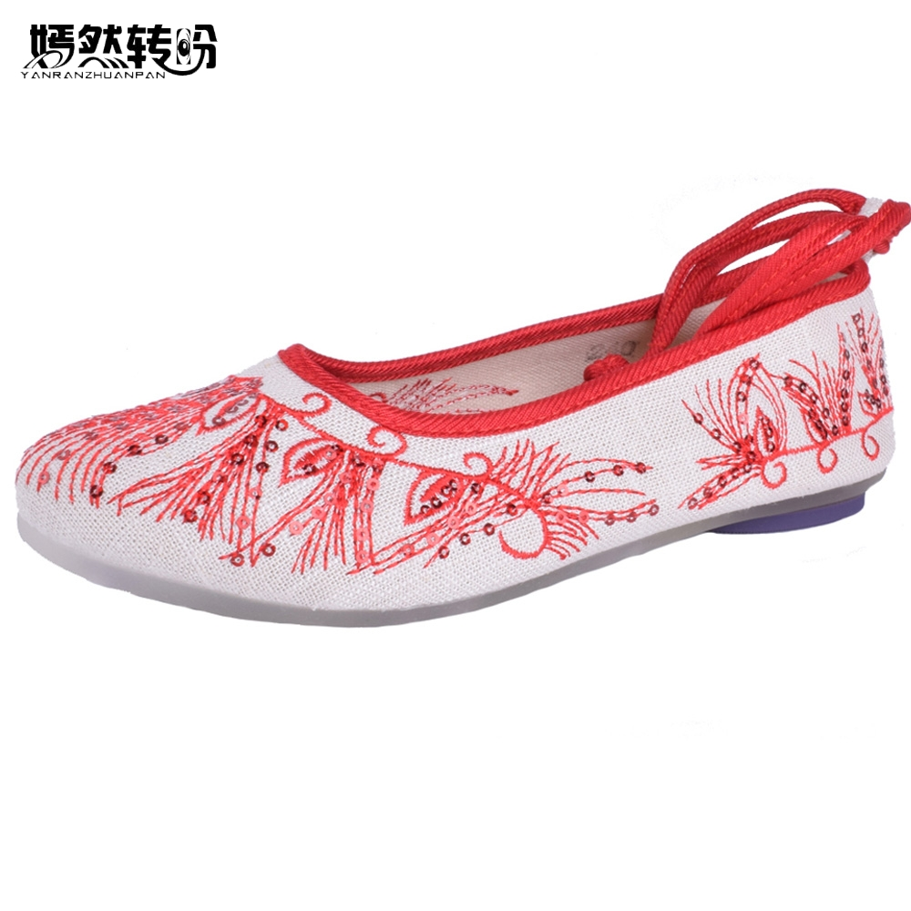 Women Flats Shoes Old Beijing Chinese Embroidery Soft Casual Pointed Toe Dance Ballet Shoes Woman Zapatos Mujer Big Size 41 peacock embroidery women shoes old peking mary jane flat heel denim flats soft sole women dance casual shoes height increase