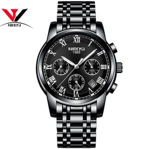 Image 4 - Luksusowe markowe zegarki męskie NIBOSI Chronograph mężczyźni sport czarne zegarki wodoodporny pełny stalowy biznes mężczyźni zegar Relogio Masculino