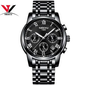 Image 4 - Relojes de marca de lujo para hombres, cronógrafo NIBOSI, relojes deportivos negros para hombres, relojes de negocios de acero completo a prueba de agua para hombres, reloj Masculino