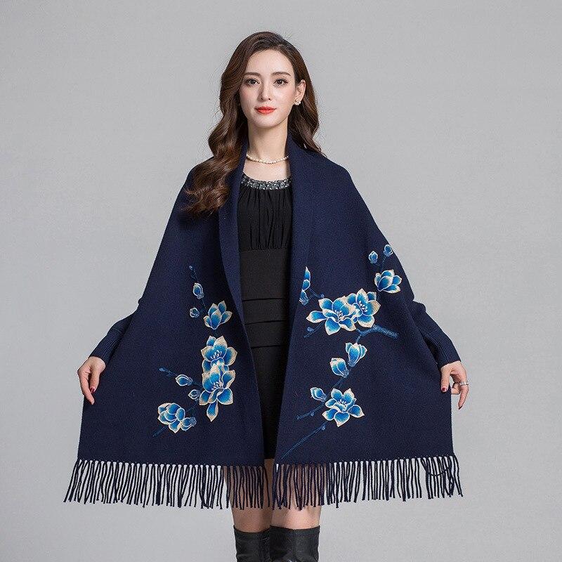 Classique femmes broderie fleur écharpe mode dame artificielle cachemire chaud châles avec manches longues épais cap Chal Echarpes