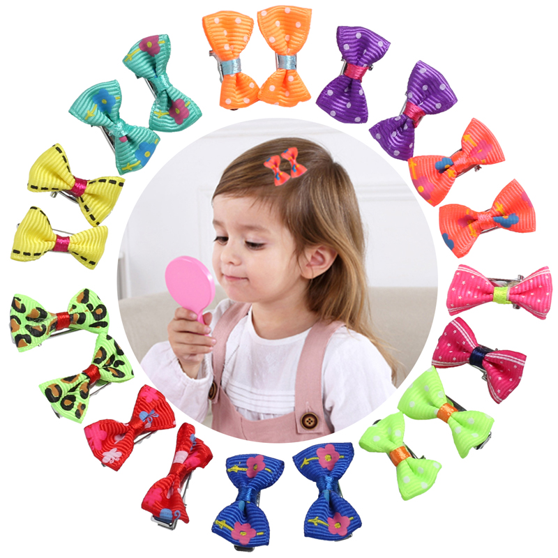 20pcs Bow Hair Clips For Children Color Barrette Cute Pets Cat Kids Flower Fabric Ribbon Hairpin Hair Clamp Clip Pins Baby Girls