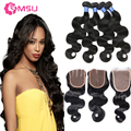 Stema Hair Company Brazilian Virgin Hair Bundles With Closure  4X4 Top Soft&Silky 3Pcs 8A Brazilian Body Wave With Lace Closure