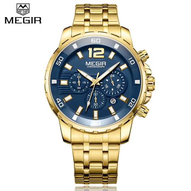MEGIR Men's Business Stainless Steel Dial Men Chronograph Quartz Watches 1