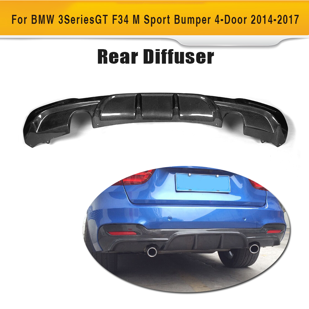3 Series Carbon fiber Car Rear Lip Spoiler diffuser for BMW F34 GT M sport 4 Door Only 14-17 dual exhaust one outlet P style