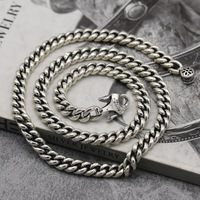 Real 925 Sterling Silver Necklace Men Chain Punk Hip Hop Jewelry Superstar Vintage 9mm Crude 45cm 80cm Link Chains Necklaces