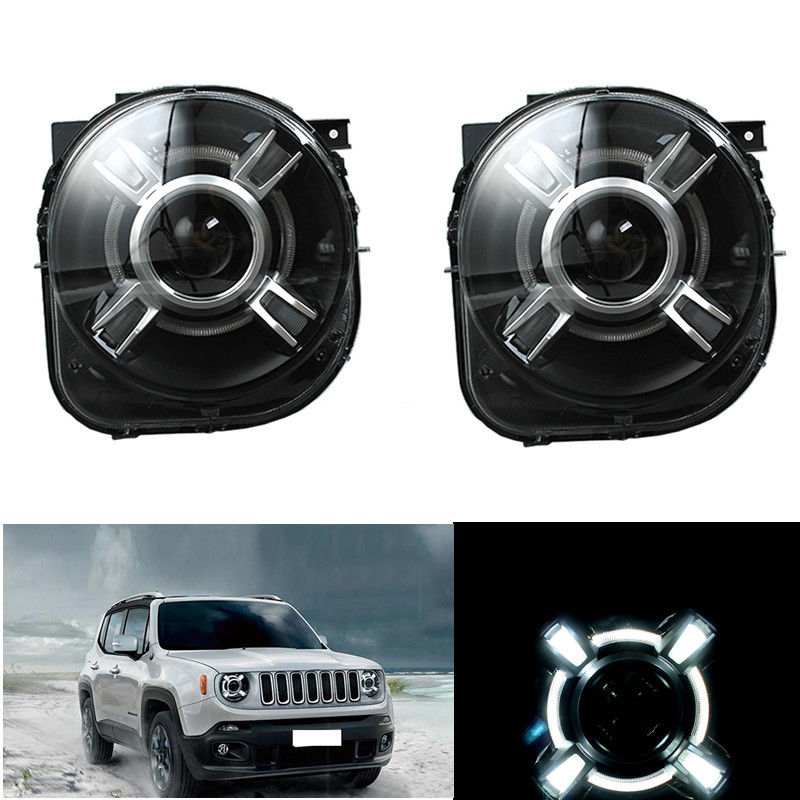 HID Headlight with LED DRL and Bi-xenon Projector  2015-2017 For Jeep Renegade free shipping h4 car headlights for 2015 2017 jeep renegade hid headlight with drl and bi xenon projector