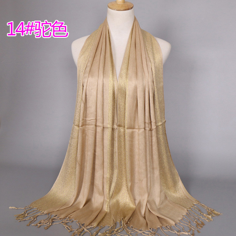 2019 NEW women gold cotton solid color muslim head   scarf   shawls and   wraps   pashmina bandana female foulard ladies hijab stores