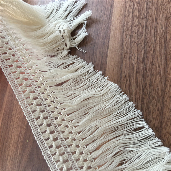 5Yard/Lot 12CM Handmade DIY Cotton Lace Trim Tassel Fringe Accessories Beige Clothing Curtain Table Sweater Decorative M0123