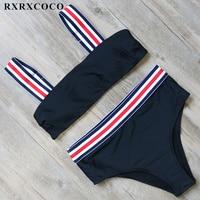 RXRXCOCO High Waist Bikini Set 2018 New Swimsuit Women Halter Bandage Bikini Push Up Swimwear Padded