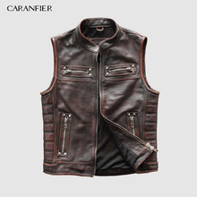 CARANFIER Retro Mens Cowhide Vests Brand Angel Motorcycle Biker Sleeveless Jacket Male Genuine Leather DHL Free Shipping