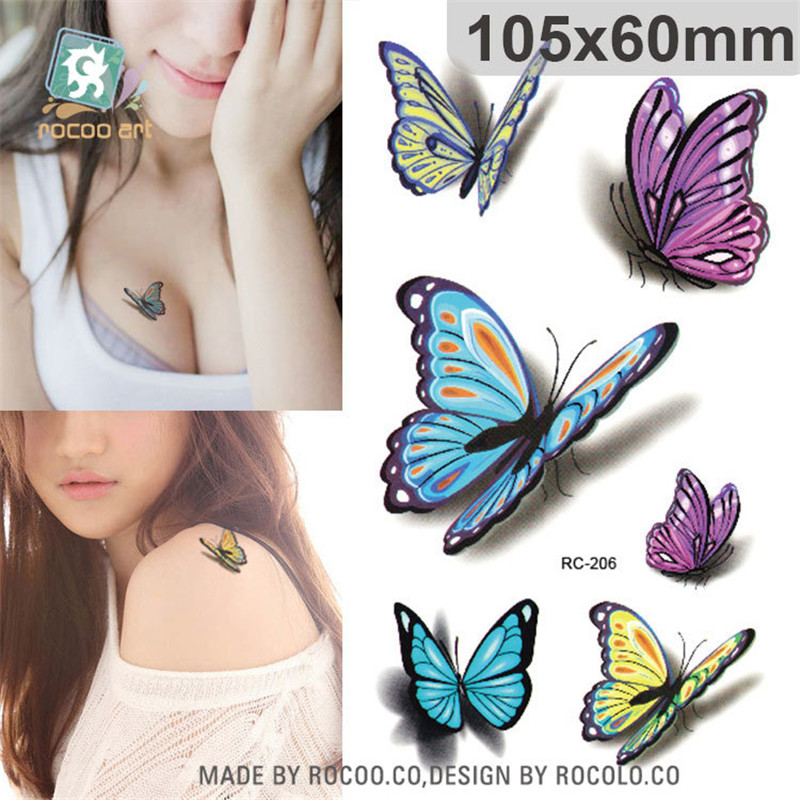 Harajuku Waterproof Temporary Tattoos For Lady Women 3d Sexy Colours Butterfly Design Tattoo Sticker Free Shipping RC2206