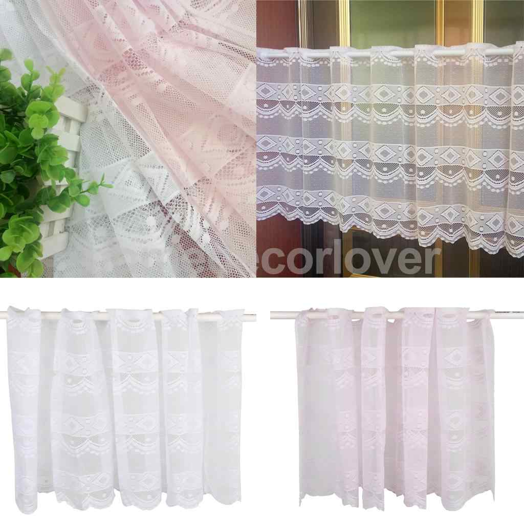 Window Dressing Polyester Net Short Curtain Home Kitchen Cafe Curtain Tier  Half Window Valances, 20x63 inch