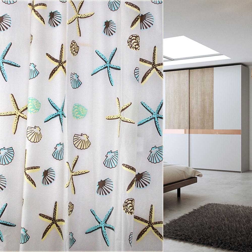 New Shell Sea Star Bathroom Waterproof Mildew Proof Shower Curtain With 12pcs Hooks Rings 180cm180 200cm