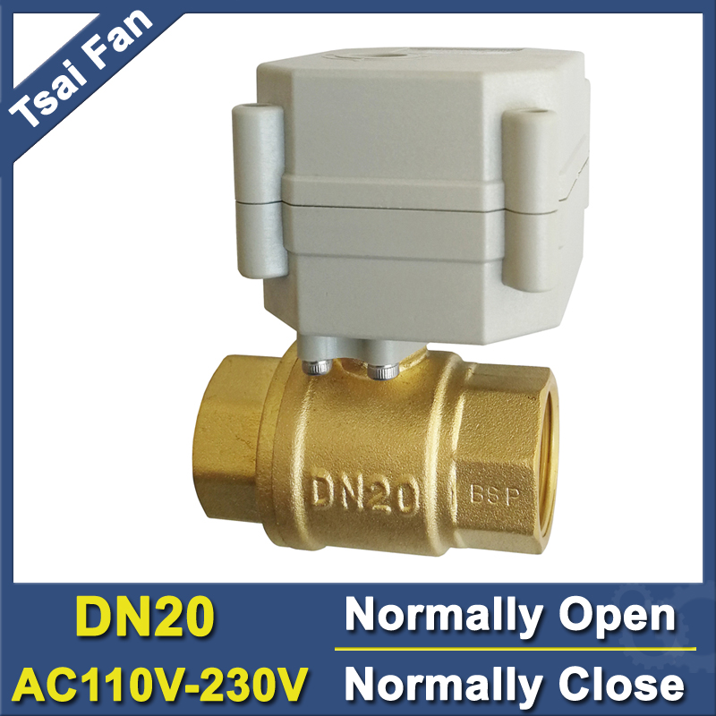 TF20-B2-C 2-Way Brass BSP/NPT 3/4'' DN20 Full Port  Electric Normally Open/Close Valve With Indicator AC110V-230V Metal Gear