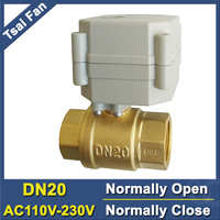 TF20 B2 C 2 Way Brass BSP/NPT 3/4'' DN20 Full Port Electric Normally Open/Close Valve With Indicator AC110V 230V Metal Gear