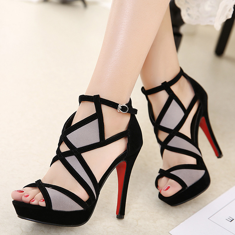 2017 sexy party wedding bridal shoes women black thin heel roman Gladiator sandals platform high heels open toe sandals size 40