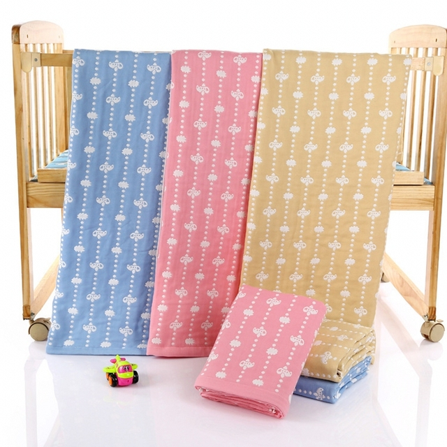 Bebê Musselina Swaddle Algodão Blankts Bebês Carroceiros Bebê Menino Envoltório Macio Cama Todas As Estações 105x105 Grande Blanet Rosa azul Amarelo