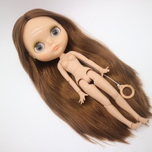 Ortak vücut Çıplak Blyth Doll, Fabrika bebek, Için Uygun DIY kahverengi saç tan cilt 20181029