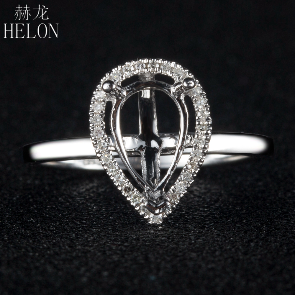 HELON Pear cut 5x8mm Semi Mount Ring Solid 14K White Gold SI/H Natural Diamonds Engagement Wedding Ring For Women Trendy Jewelry solid 14k white gold engagement ring for women 100% si h natural diamonds wedding band millgrain v shape trendy jewelry