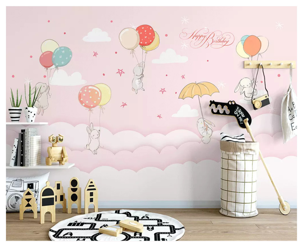 Beibehang Hand-painted Personality Papel De Parede Wallpaper Nordic Small Fresh Cloud Rabbit Children Room Decorative Painting