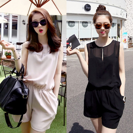 Spring 2015 New Fashion Korean Jumpsuit Women Slim Rompers Womens Jumpsuits Black&Apricot Overalls Hollow Out Bodysuit