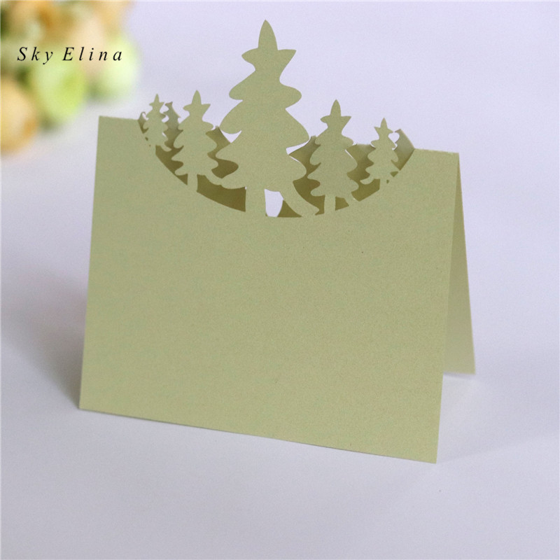 10pcs Christmas Tree Table Name Card Hollow Seat Card Wedding Table