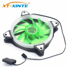 XT-XINTE 12cm Cooler CPU Fan LED Light Cooling PC Computer Case 12V DC Heatsink IDE Large 4Pin PWM 20dB Ultra Silent Fan цена и фото