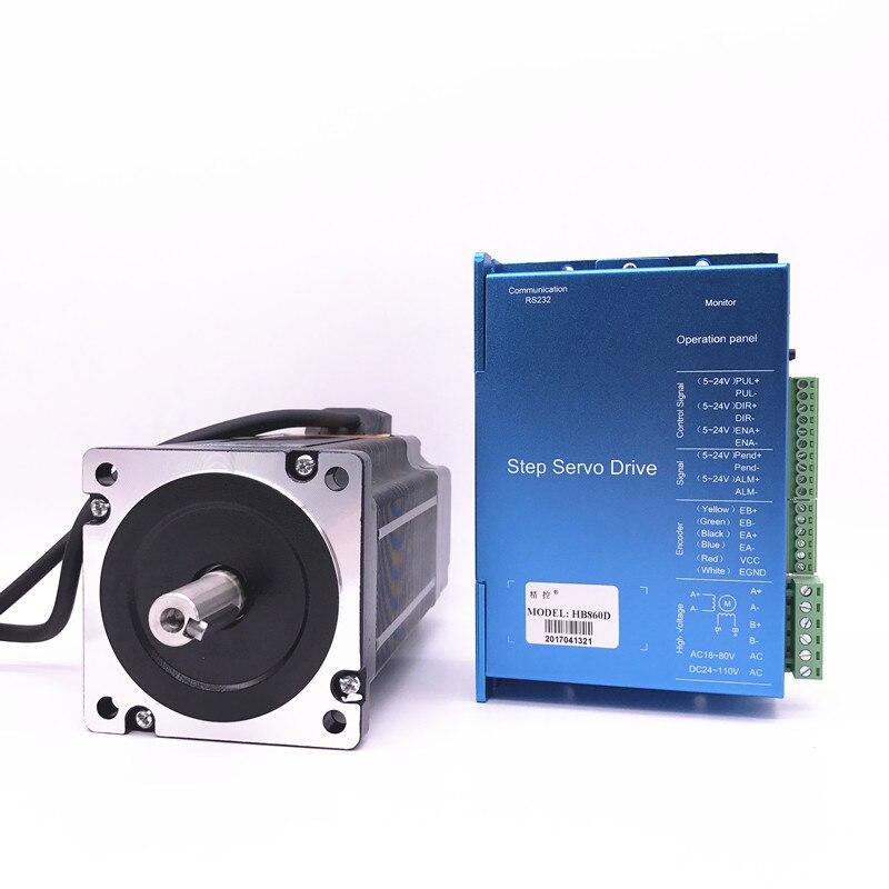 DC motor de Passo de closed-loop 86HB250-156B + motor de passo Nema 86 Hybird 12.5nm HB860D 2-fase do motor de passo em malha fechada motorista