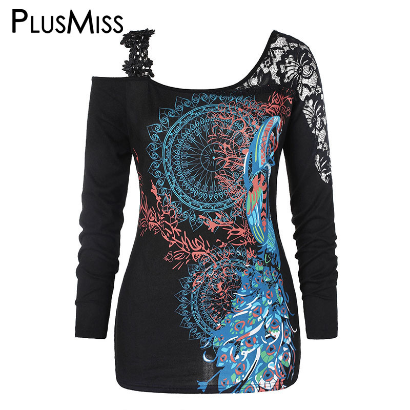 PlusMiss Plus Size 5XL Tribal Printed Floral Lace Crochet Tunic Tops Women Big Size Sexy Cold Shoulder Blouse XXXXL XXXL XXL