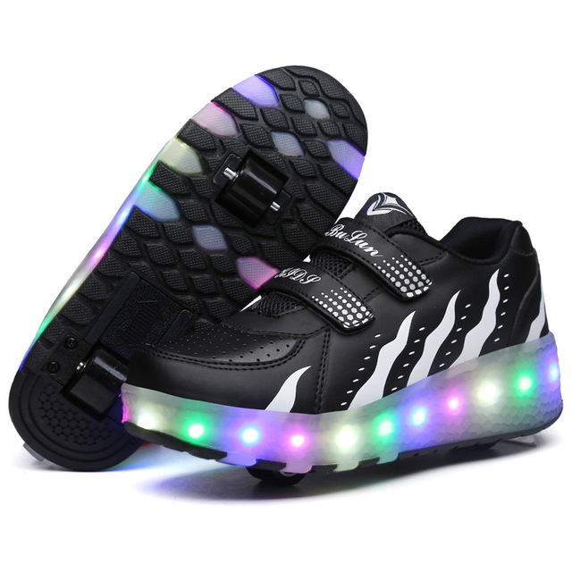 Children Roller Shoes With LED Boys & Girls Shoes Breathabale Children Wheels Shoes Fashion Kids Flash Sneakers Size 29-40