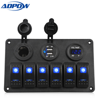 ADPOW 6 Gang Boat Switch Panel Dual Usb Car Charger 12V Voltmeter Auto Boat Marine Cigarette Lighter Led Rocker Switch Panel