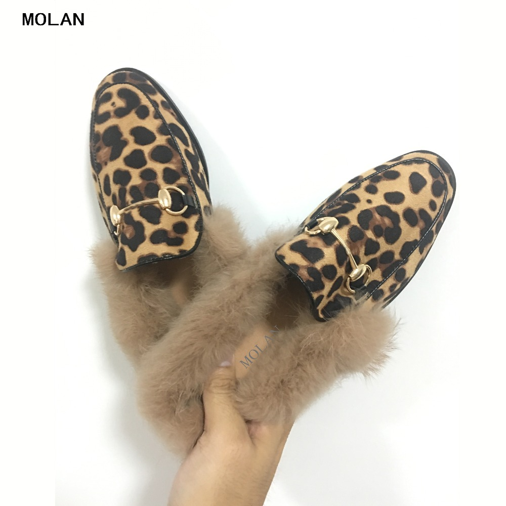 2018 New design Sexy Leopard Metal Chain Round Toe Rabbit Hair Flat Flock Slippers Woman Shoes Slip On Loafers Mules Flip Flops suojialun brand 2018 autumn women luxury mules slippers pointed toe half slippers slip on loafers mules flip flops