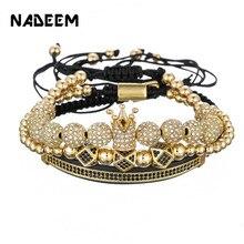c6b8c12f3e4d Lujo CZ polígono bola corona encanto cobre cuenta macramé hombres hechos a mano  pulseras y brazaletes para hombres joyería