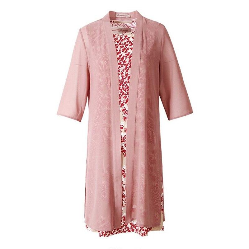 2019 nouveau femmes grande taille 4XL Vintage robe printemps été à manches courtes O cou en mousseline de soie robes partie décontracté élégant femmes robe