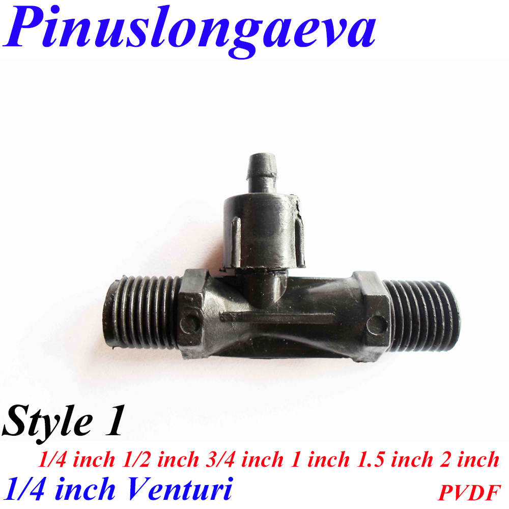 цена Pinuslongaeva Factory outlet 1/4 1/2 3/4 1 1.5 2 inch venturi PVDF gas-liquid mixer Built in check valve function Jet device