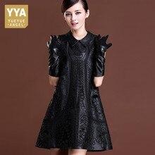 Top Brand Women Winter Sheepskin Genuine Leather Dress Black Floral Embroidery Lolita Dresses Party Sexy Mini Sleeveless Dress
