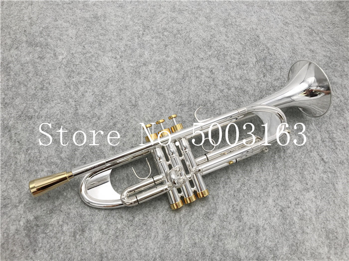 BULUKE High Quality  Trumpet Original Silver Plated GOLD KEY LT180S-37 Flat Bb Professional Trumpet Bell Top Musical Instruments