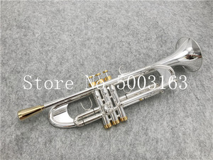 Image 1 - BULUKE High quality  Trumpet Original Silver plated GOLD KEY  Flat Bb Professional Trumpet bell Top musical instruments