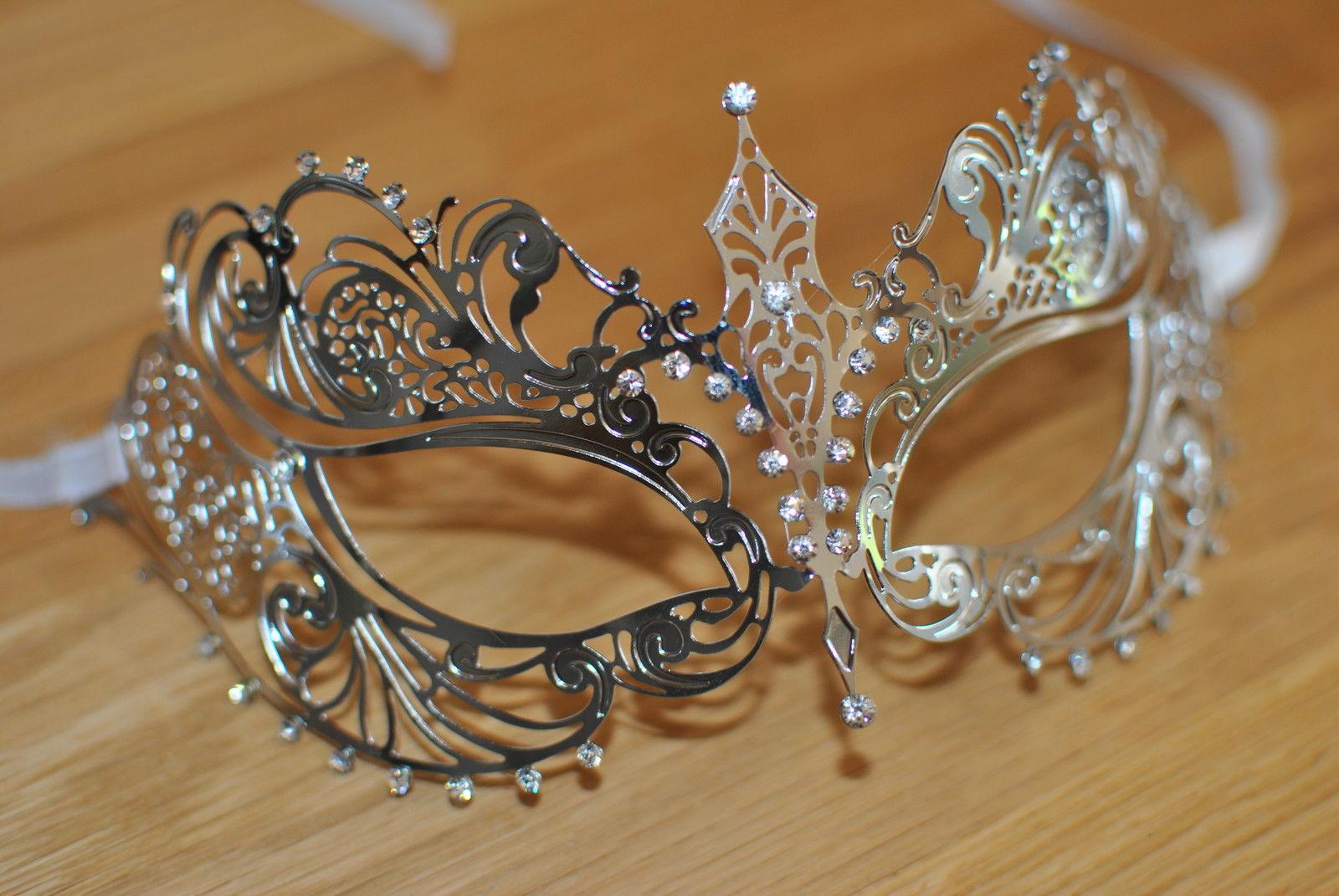 Venetian Silver metal mask Clear Diamonte Filigree Masquerade// Ball//Prom IN9
