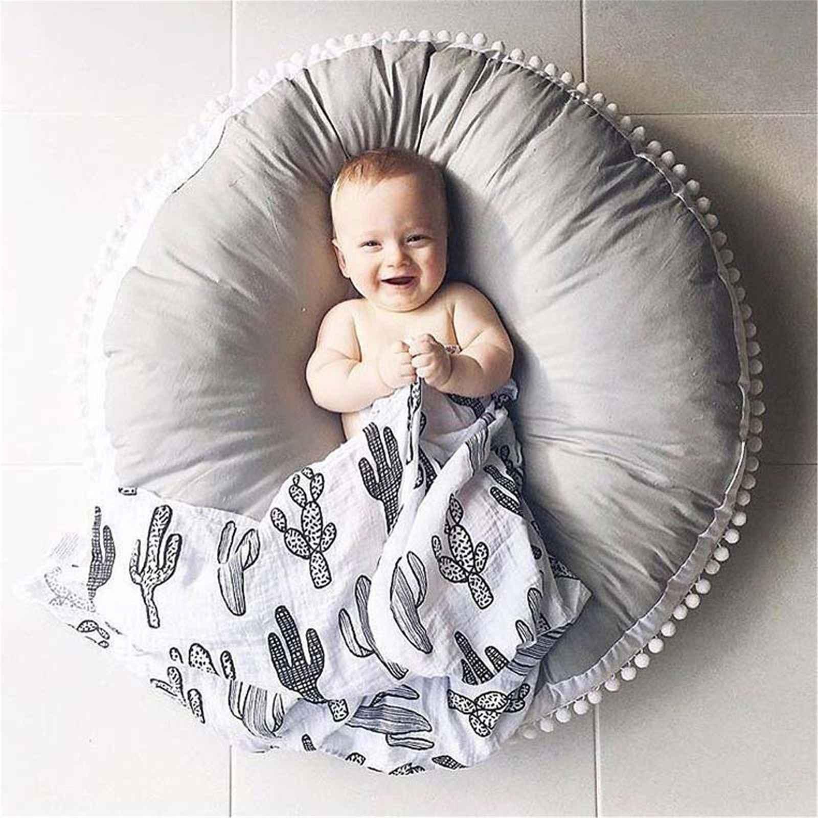 2019 cadeira do saco de feijão Do Bebê Algodão Rodada Esteiras Rastejando Pad Esteira do Jogo Para Casa Crianças Decoração do Quarto Dos Miúdos 90*90 cm Amarelo Cinza