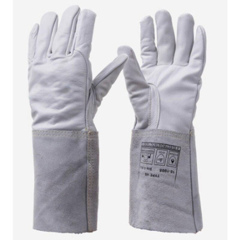 Nowy 2017 10-1005 Ochrona Llove Ręcznie Długie Rękawy Spawalnicze Spawanie MIG Spawacz TIG Spawanie Wołowej Rękawice robocze Chiny niskie Ceny