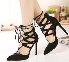 Sexy Brand Pointed Toe High Heels Lace up Hollow Gladiator Women Pumps Wedding Party Shoes Woman Zapatos