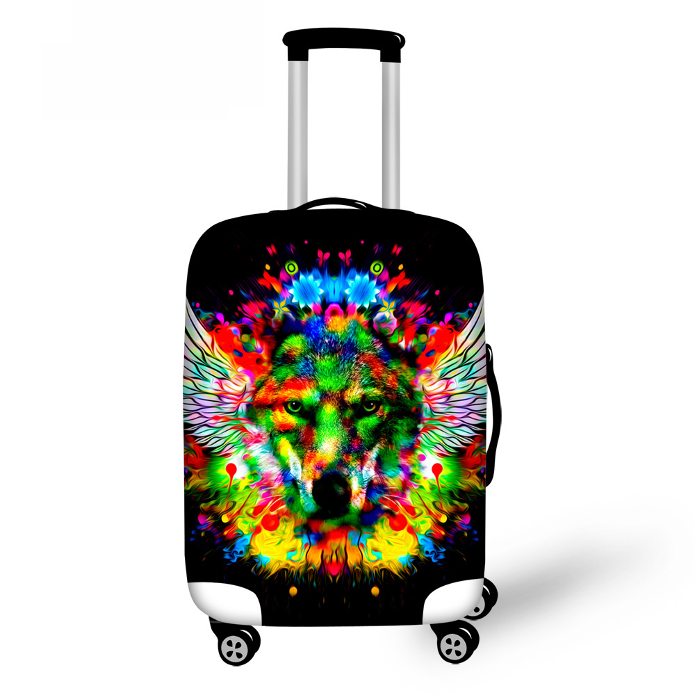 ThiKin Lion Tiger Luggage Case Cover for 18-30 inch Trunk Cases Suitcase Covers Elastic Wolf Anti-dust Travel Accessories