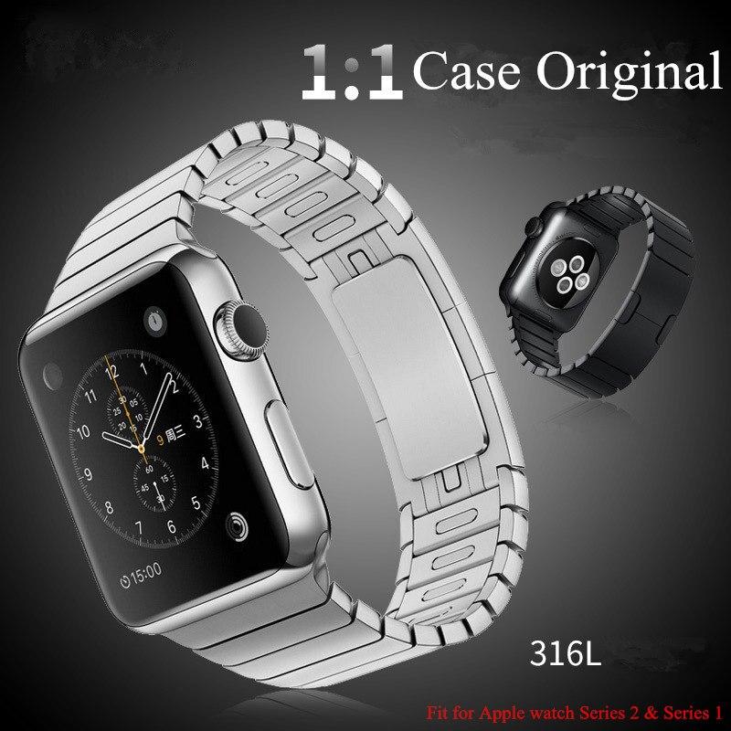 Prix pour Nouveau 316L Acier Inoxydable 1:1 D'origine Lien Bracelet Bracelet Pour apple watch 42mm avec personnalisé papillon fermeture pour série 2 1
