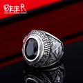 Stainless Steel Cool Unique Black Stone Ring Titanium Steel Retro Old Totem Jewelry For Man Factory Price Sale  BR8-334