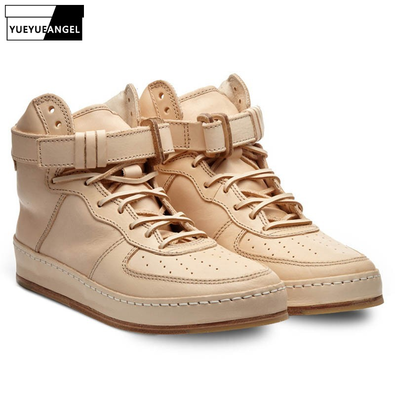 Luxury 100% Real Leather High Top Sneakers Unisex Handmade Designer Round Toe Casual Ankle Shoes Plus Size 45 Hip Hop Footwear